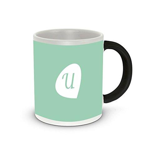 "Rikki Knight Letter ""U"" Initials Hemlock Green Color Petal Leaves Design Heat Sensitive Color Change 11 oz Photo Quality Ceramic Coffee Mug Cup"