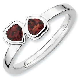 Genuine IceCarats Designer Jewelry Gift Sterling Silver Stackable Expressions Garnet Double Heart Ring Size 10.00