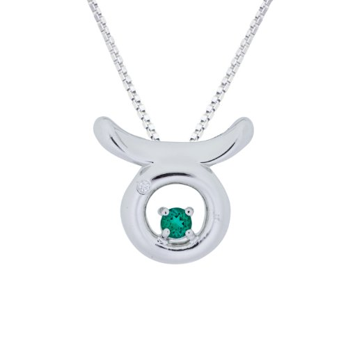 Sterling Silver Created Emerald and Diamond Taurus Pendant Necklace (0.005 cttw, I-J Color, I2-I3 Clarity), 18