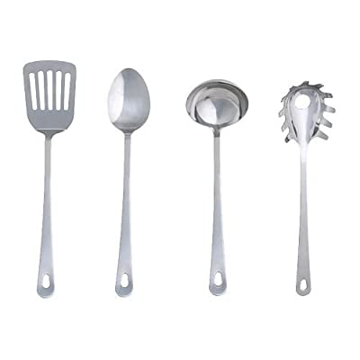 Ikea 300.833.34 Grunka 4-Piece kitchen Utensil Set, Stainless Steel, Silver