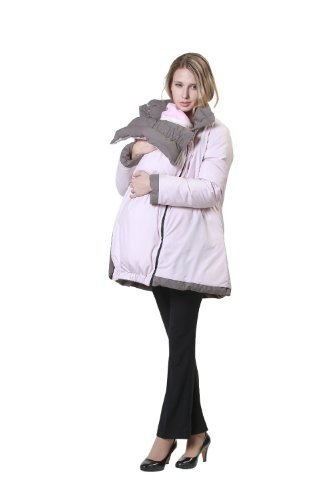Reversible Down Maternity Coat with baby pouch Khaki*Pink UK size 12-14
