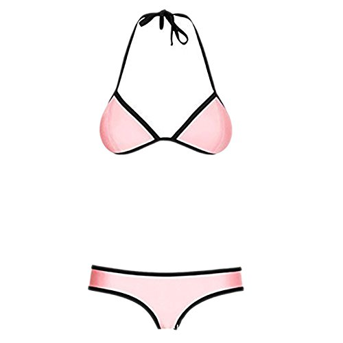 Pinkyee Damen Sexy Tauchanzug Material Neopren Bikini Set Badeanzug Badebekleidung Gr. xl, Rosa - Pink