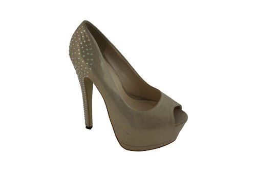 Extreme By Eddie Marc Womens Polly Rhinestone Back Open Toe High Heel Pump Gold 11