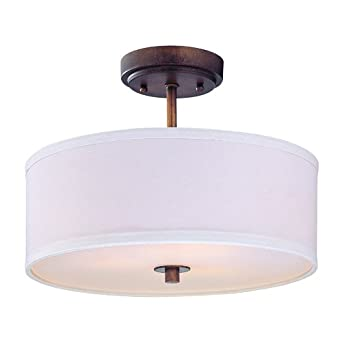 semi flush ceiling light with white drum shade 14 inches. Black Bedroom Furniture Sets. Home Design Ideas