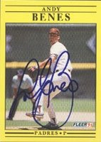 Andy Benes San Diego Padres 1991 Fleer Autographed Hand Signed Trading Card. by Hall+of+Fame+Memorabilia