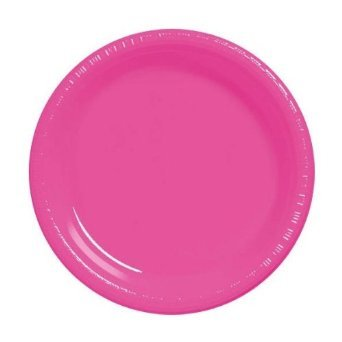 Amscan Bright Pink 7 In. Plastic Plate 20/pkg