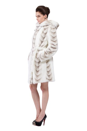 Messca Women's Sally Faux Mink Fur with Gray Fish Pattern Middle Fur Coat (S, White)