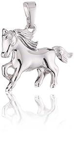 Xaana Kinder-Anhänger Pferd glanz Silber rhodiniert 925 Sterling Silber AMZ0043 von Xaana