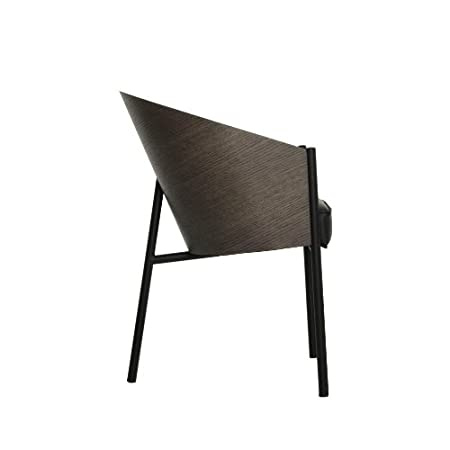 Costes Armchair grey erable/wood/frame black/leather seatcushion