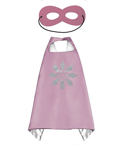 Princess Frozen Elsa & Anna Pink CAPE AND MASK SET*Ships from US*Halloween costume