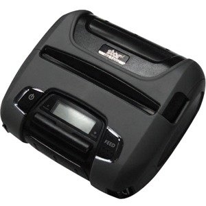 Rugged 4-inch wide-format thermal receipt printer with Bluetooth 2.1 connectivity, long battery life, and LCD display for battery status and print errors