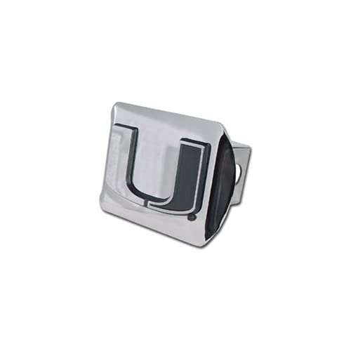 Miami Hurricanes Chrome Plated Metal Trailer Hitch Cover