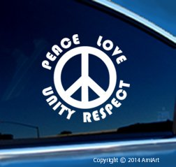 Plur Decal - Peace-Love-Unity-Respect -Peace Sign- I-Love-Raves- Edm- Bumper Sticker Decal.