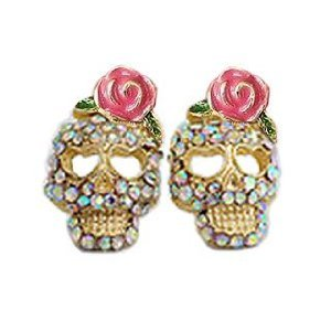 Cz Crusted Skull Pink Flower Flowers Rose Stud Earrings Gift Boxed front-974284