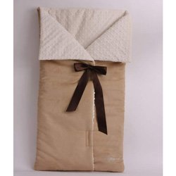 Bow Wrap Baby Bunting - Color Beige Suede Ivory Minky