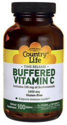 Country Life Buffered Vitamin C Rh, 1000 Mg, Plus Citrus Bioflavonoids 150-Mg, 100-Count