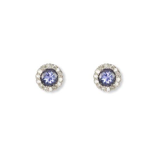 Imagen principal de CHIC 6416 - 4 - Pendientes de mujer de oro blanco (9k) con tanzanitas y diamantes