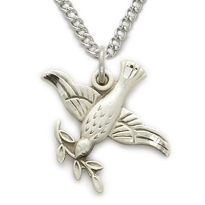 Sterling Silver Dove Necklace in an Olive Branch