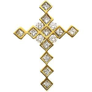 Genuine IceCarats Designer Jewelry Gift 14K Yellow Gold Diamond Cross