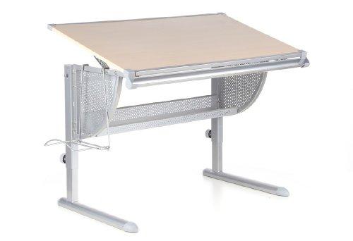 HJH-Office-705010-Kinderschreibtisch-Nenos-hhenverstellbar-und-neigbar-buche-silber