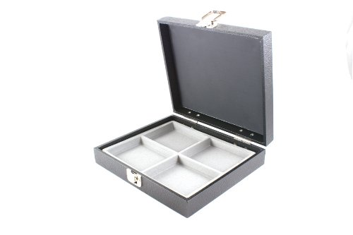 Display Case with Solid Lid & Clasp + Grey 4 Compartment Insert