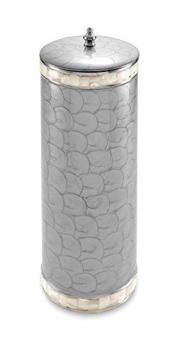 Julia Knight Classic Toilet Tissue Covered Holder, Platinum front-900186