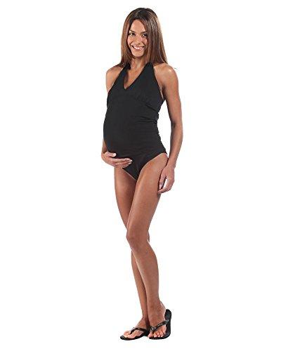 The Essential One Women's Maternity Swimwear Tankini, Black, US 6/UK 10