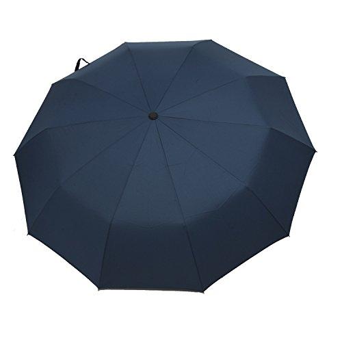 Niccou 高強度 グラスファイバー骨 10骨傘 折りたたみ傘 晴雨兼用 頑丈高強度の安全傘 直径102cm 2色 (直径102cm, ディープブルー)