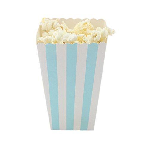 Vivi.S Stripe Popcorn Boxes Party Supplies 4.5''*2.8''*2'' BLUE (Boxes Only) (Blue Popcorn Boxes compare prices)