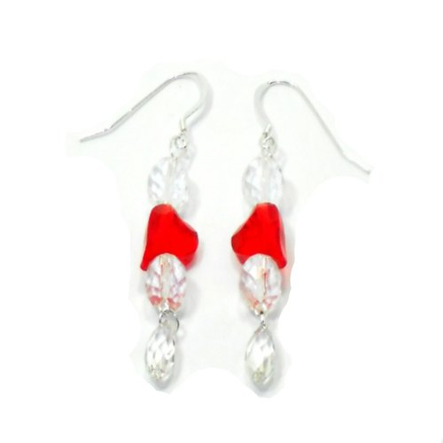 Sterling Silver Earrings with Red Swarovski Crystal Hearts