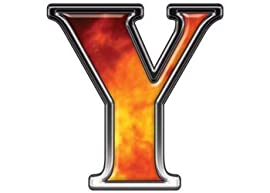 Reflective Letter Y with Real Fire - 16
