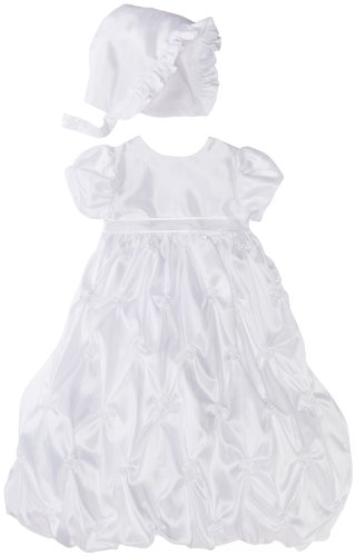Lauren Madison baby girl Christening Baptism Newborn Taffeta Gown With Embroidery, White, 6-9 Months
