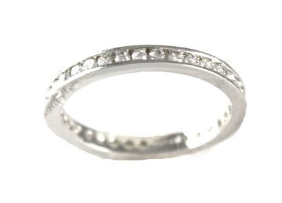 Brilliant CZ Cubic Zirconia Eternity Wedding Band Set in 925 Sterling Silver and Rhodium Layered 2mm Thick , 7