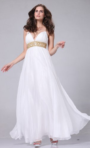 V-neck Long Gown White Wedding Dress