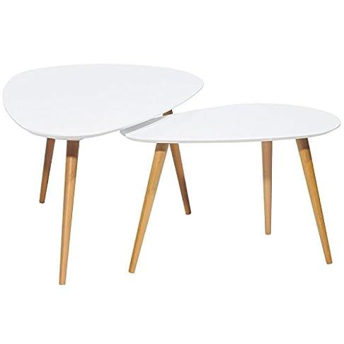ACTUAL DIFFUSION - Tavolini in stile vintage, set da 2, muniti di 3 gambe in legno, dimensioni di 66 x 116 x 45 cm, rif. 9360B