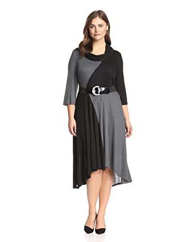 Signature by Robbie Bee Plus Women's Color Block Dress with Belt
