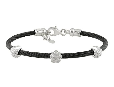 Sterling Silver and Stainless Steel 0.05 CT TDW Diamond Black Cable Bangle Bracelet (J-K, I3)