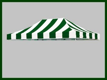 Eurmax Pop Up Canopy Replacement Top Cover For 10X15 Pop Up Canopy, Top Cover Only (Stripe Green White) front-926039