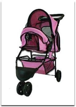 Folding Pink Pet Stroller