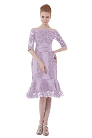 Dresstells Short Light Purple Lace Evening Prom Dress Cheap US Plus Size 14W Light Purple