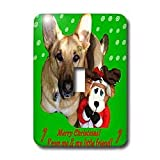 Sandy Mertens Christmas Dog Designs - Christmas German Shepherd and Friend - Light Switch Covers - single toggle switch ~ 3dRose