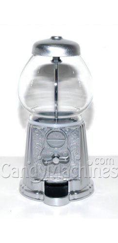 "Classic Gumball Machine Bank, 12"" tall - Die cast Metal Glass Globe (12"", Silver)"