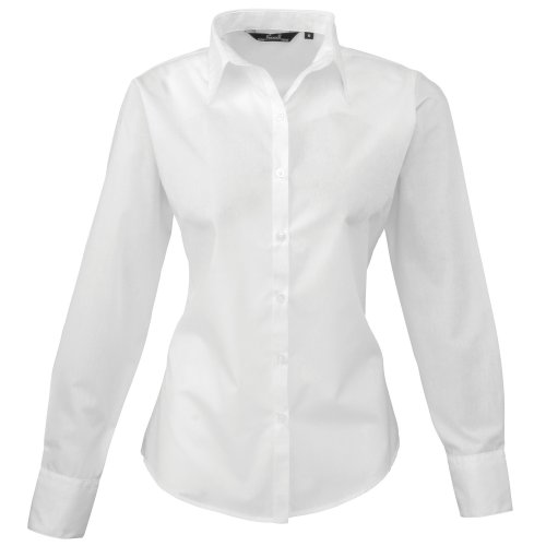 Premier Womens/Ladies Poplin Long Sleeve Blouse / Plain Work Shirt (10) (White)