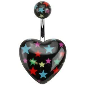 Black Multi Star Pumped Heart Non Dangle Navel Belly Bar: Jewelry