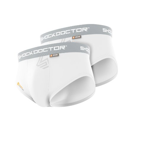 Shock Doctor Boy's Brief with Cup-Pack of 2 (White, Large)