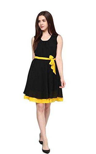Swagg India for Girl's Black Yellow Solid Georgette Tunic  available at amazon for Rs.299