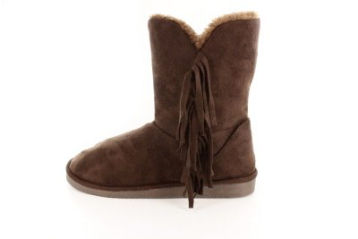 Australian Classic Fringe Mid-Calf Boot in Black or Brown Faux Sheepskin Fur.