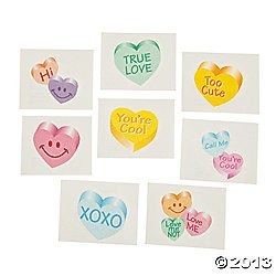 72 GLITTER Conversation HEART Temporary TATTOOS/VALENTINE'S DAY PARTY FAVORS/6 DOZEN/TEACHER'S Prizes