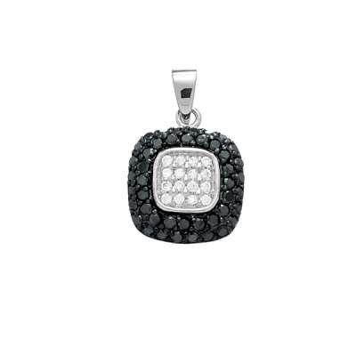 Fashion Necklace Pendant Jewelry 925 Sterling Silver and Black Plating w/ Black and White CZ Square Design(WoW !With Purchase Over $50 Receive A Marcrame Bracelet Free)