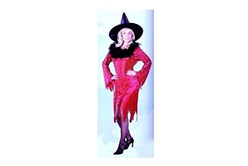 Red, Women Small Halloween Witch Costume with Hat